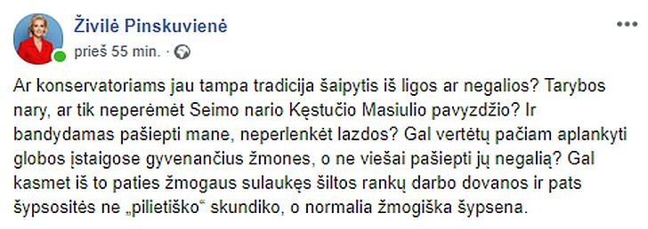 Virginijus Sarpauskas sulaukė merės Živilės Pinskuvienės pastabos.