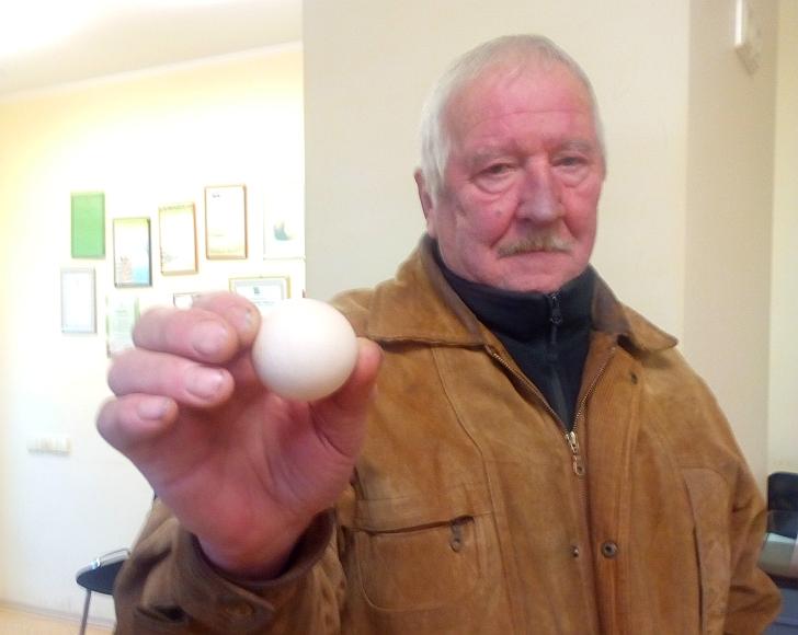 Jono Saveikio rankoje - apvalus lyg kamuoliukas vištos kiaušinis.