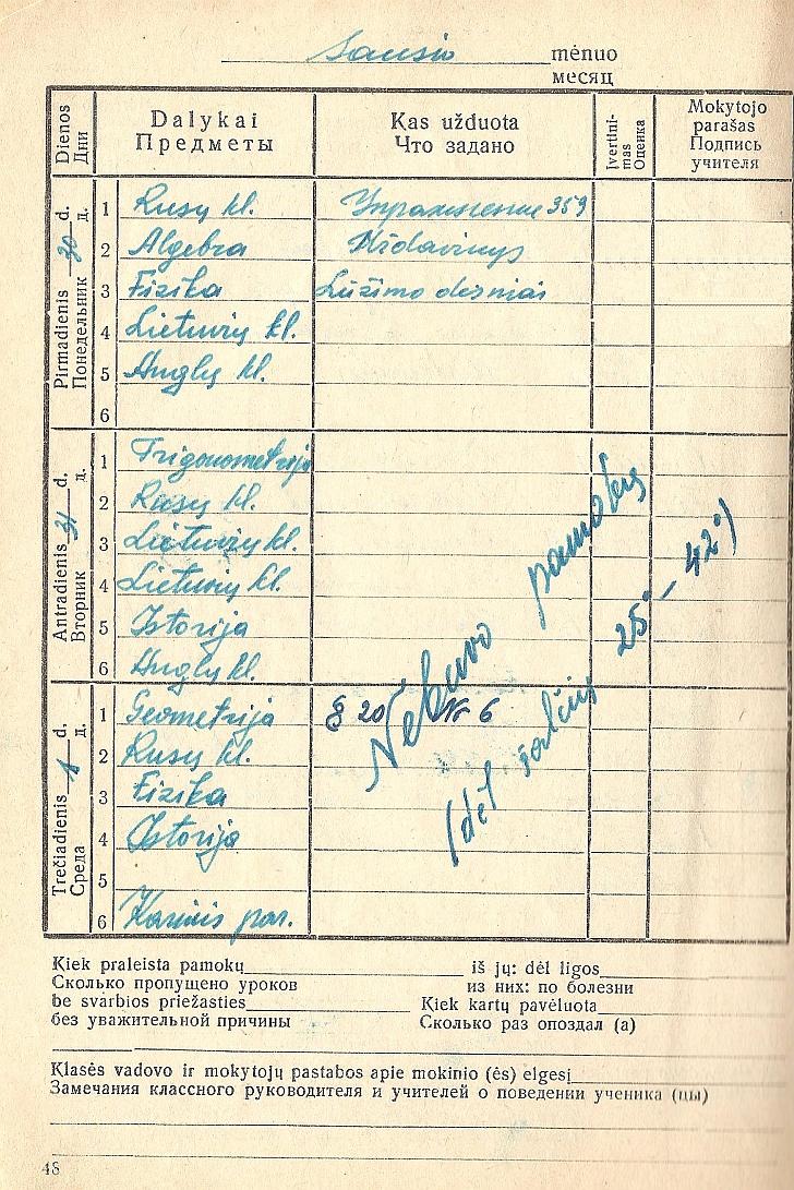 42 C laipsnių šaltis užfiksuotas A. Vėbros mokykliniame dienoraštyje.