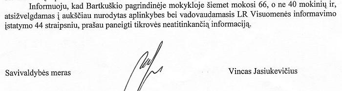 Meras Vincas Jasiukevičius prašo paskelbti, kad Bartkuškio pagrindinėje mokykloje mokosi mažiau mokinių, nei yra iš tiesų...
