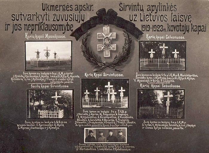 Širvintose įsteigtas komitetas Nepriklausomybės kovų aukų kapams sutvarkyti, vadovaujamas pasienio policijos Širvintų baro viršininko I. Juodenukio (Juodemsko), 1926 metais aukų lapais surinko apie 10 tūkst. litų, iš kurių 4442 litai buvo išleisti penkioms kapavietėms Širvintų apylinkėse sutvarkyti. Atliktam darbui įamžinti ir surinkti lėšų tolesnei veiklai komitetas išleido atviručių, kuriose nufotografuotos penkios sutvarkytos žuvusių šaulių ir karių kapavietės: dvi Širvintose, taip pat Musninkuose, Gelvonuose ir Šešuoliuose. Atvirutėje surašyti žuvę kovų dalyviai (penkių žuvusiųjų pavardės bent tuo metu buvo neišaiškintos).