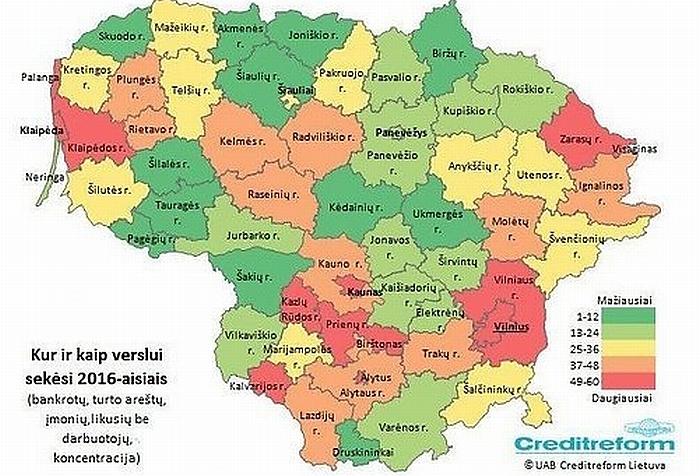 Lietuvos bankrotų, turto areštų, įmonių, likusių be darbuotojų, koncentracijos žemėlapis
