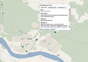 Pranešimai apie pažeidimus Čiobiškyje. Žali taškai - pasitvirtinę, o mėlyni - nepasitvirtinę signalai. Paspaudus nurodytą tašką, galima sužinoti, kokių buvo imtasi priemonių.