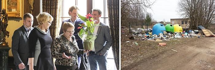Ar Administracijos direktorės pareigų netekusiai Elenai Davidavičienei (kairėje) vertėjo puikuotis šiukšlynų milijonierių pokylyje, kai atliekų tvarkymas rajone dažnai bado akis? Dešinėje - vaizdas, kurį užfiksavome Liukonyse.
