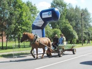 Pirmasis tarpinį finišą pasiekė arkliukas su dviem vairuotojais...