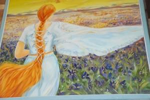 Petro Dzedulionio moteris gėlių lauke.