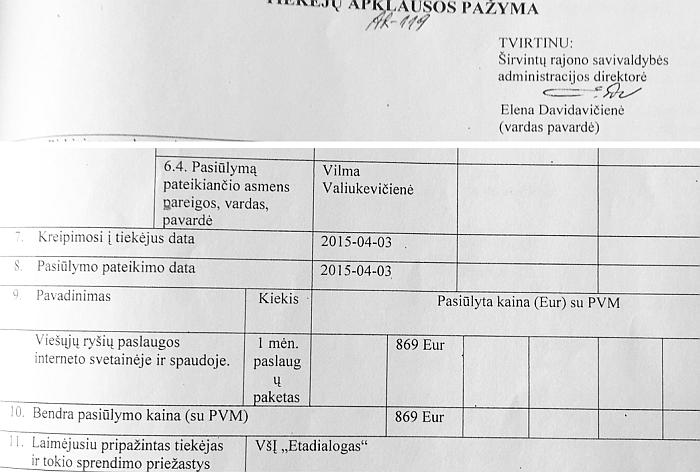 """Vien tik balandžio mėnesio """"aslaugoms"""" """"Krašto naujienose"""" Savivaldybė skyrė 869 EUR (3000 Lt)."""