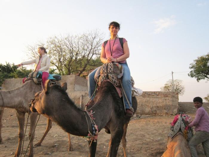 Lina Petrylienė Puškaro mieste joja ant kupranugario. Šie gyvūnai - tradicinė vietinių gyventojų transporto ir krovinių gabenimo priemonė.