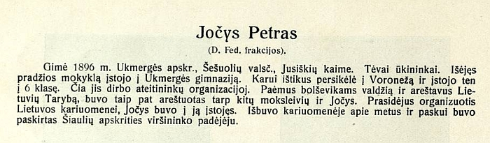 """Petras Jočys - Steigiamojo Seimo narys (nuotrauka iš leidinio """"Trumpos Steigiamojo Seimo narių biografijos su atvaizdais"""", 1924 m.)"""