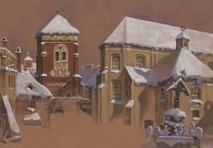 Pranciškonų (Švč. Mergelės Marijos) bažnyčia ir varpinė žiemą XV a. 1895, pop., guašas, skenavo Vaidotas Aukštaitis (ldm.lt)