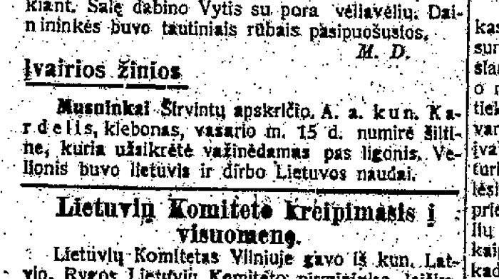 Trumpa žinutė apie Musninkuose 2018 metų vasario 15-ąją mirusį kunigą Liudviką Kardelį.