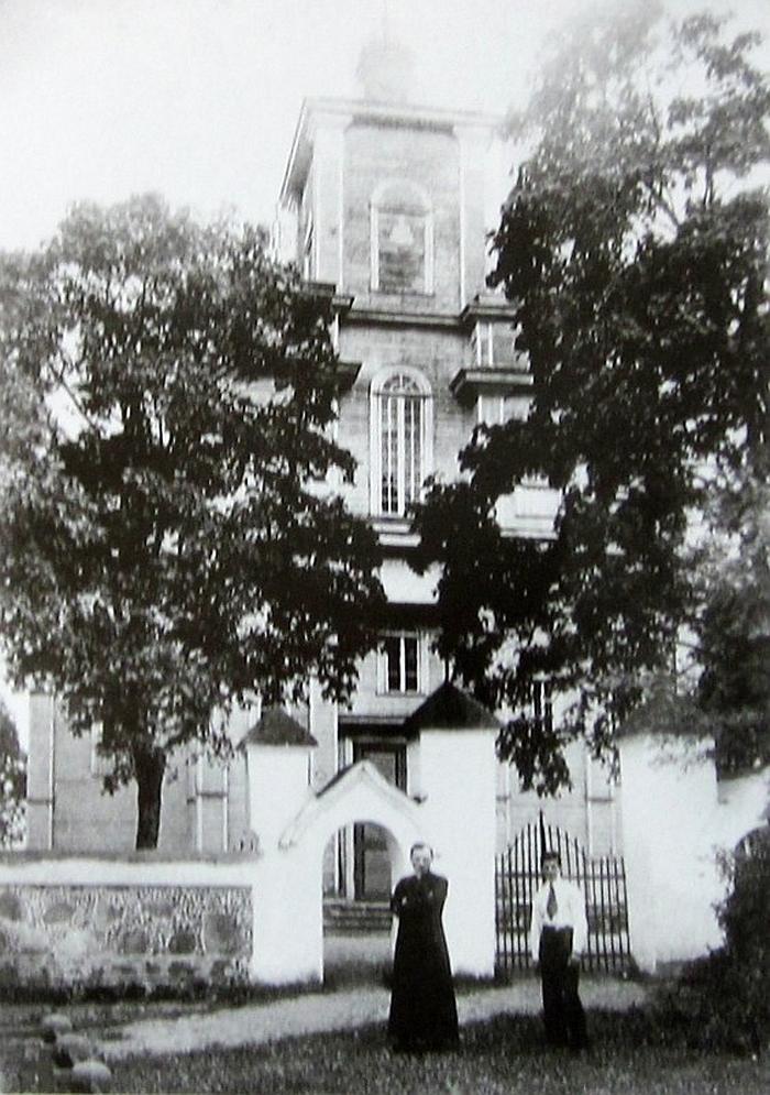 Kiauklių bažnyčia (pastatyta 1909, sudegusi 1941 metais). Apie 1935 m. Širvintų fotografo Ibedo nuotrauka.