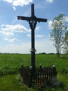 Papuoštas kryžius Gavėnių kaimo pradžioje.