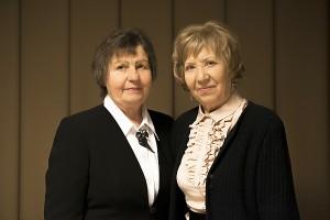 Rožė Polonskienė (kairėje) ir Zina Stonienė - pirmosios Širvintų meno mokyklos mokytojos.