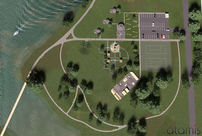 Sporto ir laisvalaikio parko vizualizacija.