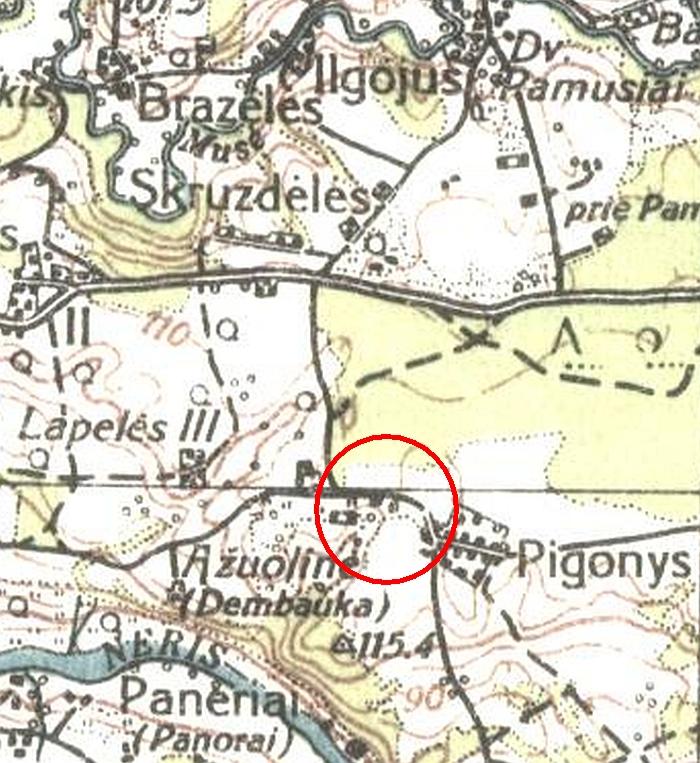 Kitapus Pigonių kaimo kelio esančių pastatų nerodė ir XX a. ketvirtojo dešimtmečio pabaigoje išleistas Lietuvos Respublikos žemėlapis.