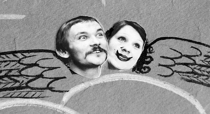 """Koliažas tema """"Trys mylimos"""". Su aktore Dalia Overaite."""