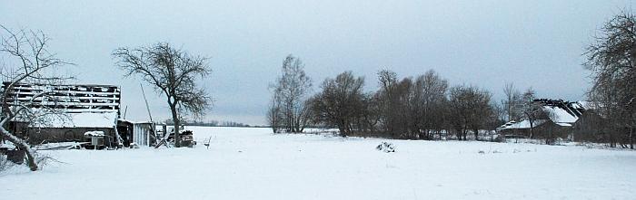 Atstumas tarp ūkinių pastatų - apie pusšimtį metrų...