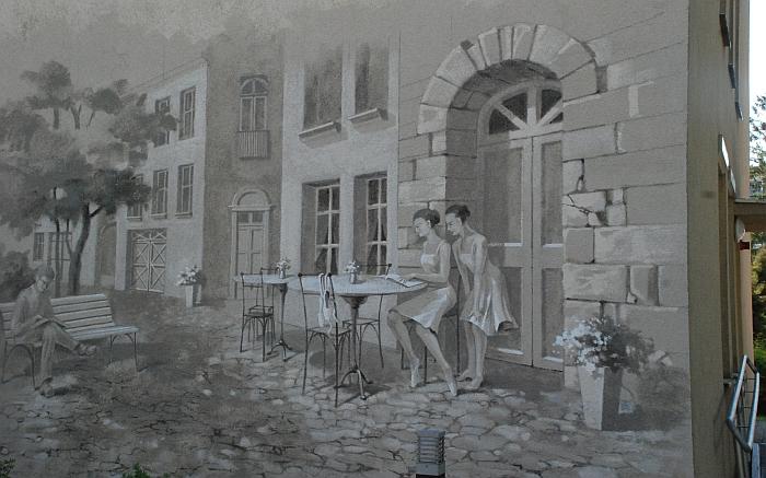 Neseniai viena Kultūros centro pastato siena pasipuošė labai įdomiu ir labai tikrovišku piešiniu.