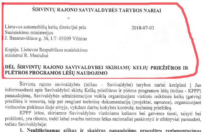 Tarybos nariai kreipėsi į Lietuvos automobilių kelių direkciją ir Susisiekimo ministeriją.