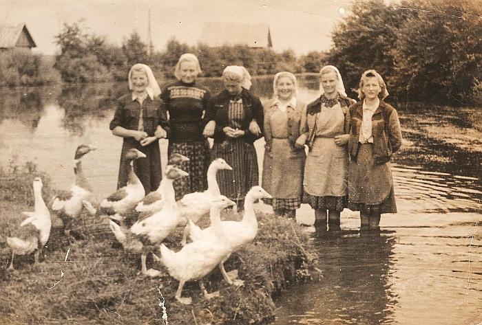 Apie 1958 metus Zibaluose: (iš kairės į dešinę) Michalina Meškerevičiūtė, Genė Pivoraitė-Kazlauskienė, Stasė Gudeikaitė-Latvienė, Kristina Filatova, Irena Suchodimcevienė, Apolonija Vinslauskaitė.