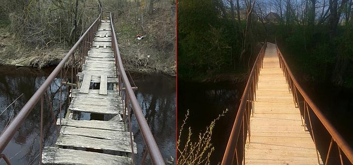 Toks tiltelis buvo dar visai neseniai, o dabar žmonės jau eina nauju tilteliu.