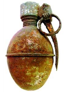 Jauniūnų seniūnijoje, miške, J. G. rado karinę granatą su žiedu.