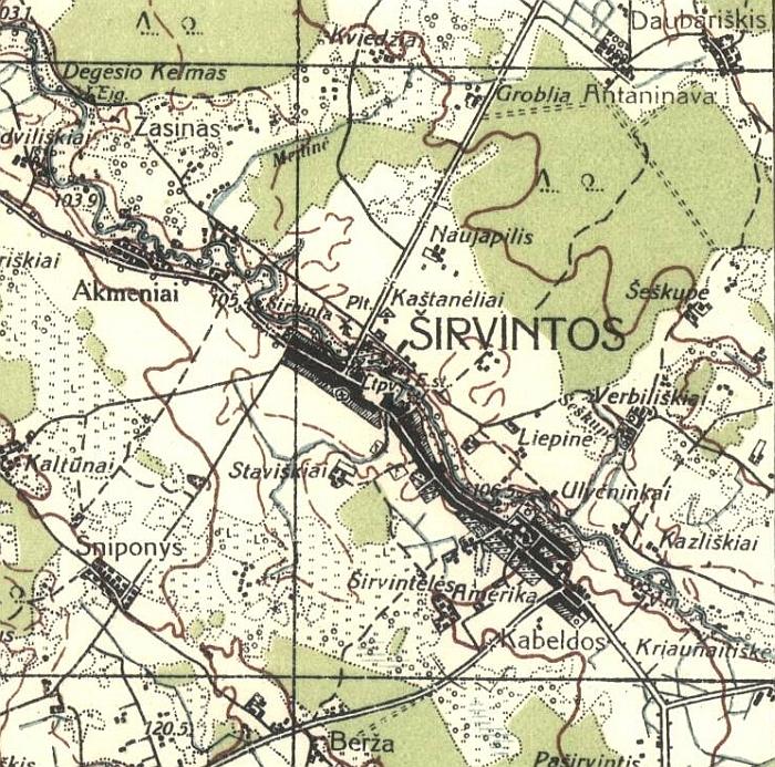 Antano Kučingio nubraižyto Ukmergės-Širvintų kvadrato fragmentas. Matyti tuometinis Širvintų planas su priemiesčiu - Amerika (dabar maždaug šioje vietoje yra Plento-Musninkų gatvių žiedinė sankryža.