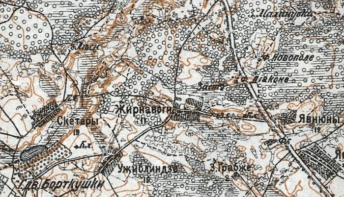 Rusijos imperijos žemėlapio fragmentas, kur Žarnavagiai yra Žirnavogi.